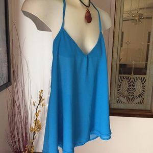 D1170. Beautiful Blue Summer Top Size M